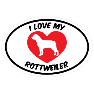 I Love My Rottweiler Text With Heart Oval Magnet