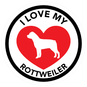 I Love My Rottweiler With Big Heart Circle Magnet