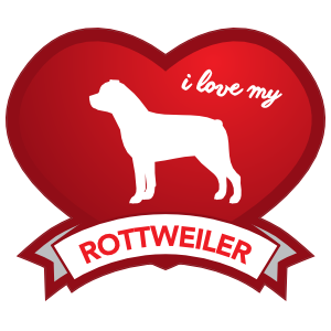 I Love My Rottweiler With Shaded Heart Magnet