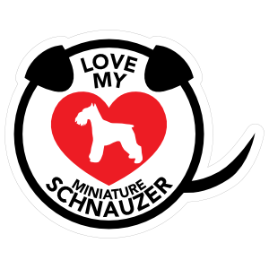 I Love My Schnauzer Puppy Heart Circle with Tail Sticker