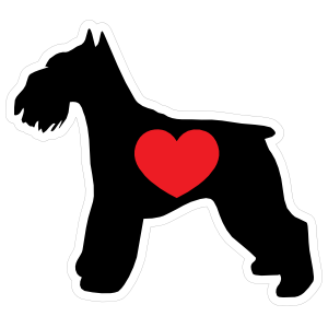 I Love My Schnauzer Silhouette with Heart Sticker
