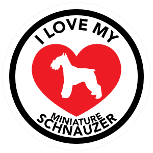 I Love My Schnauzer with big Heart Circle Sticker