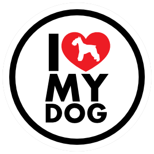 I Love My Schnauzer with Heart Circle Sticker