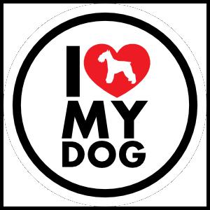I Love My Schnauzer With Heart Circle Sticker