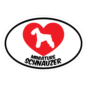 I Love My Schnauzer with Heart Oval Sticker