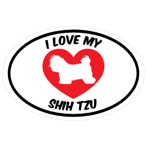 I Love My Shih Tzu Text With Heart Oval Magnet
