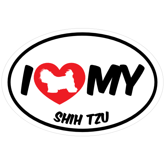I Love My Shih Tzu With Big Text Oval Magnet