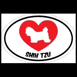I Love My Shih Tzu With Heart Oval Sticker