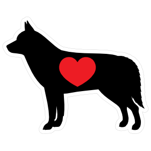 I Love My Siberian Husky Silhouette with Heart Sticker