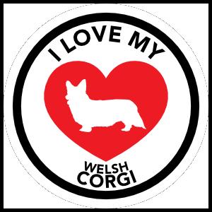I Love My Welsh Corgi With Big Heart Circle Sticker