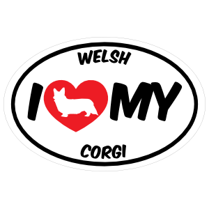 I Love My Welsh Corgi With Big Text Oval Magnet