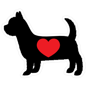 I Love My Yorkshire Terrier Silhouette With Heart Sticker