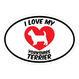 I Love My Yorkshire Terrier Text with Heart Oval Magnet