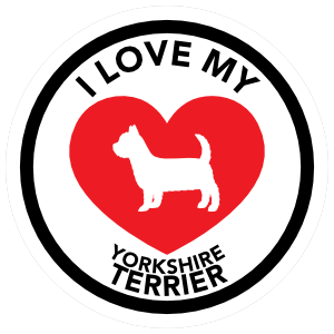I Love My Yorkshire Terrier with big Heart Circle Magnet