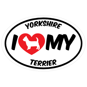 I Love My Yorkshire Terrier With Big Text Oval Magnet