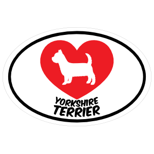 I Love My Yorkshire Terrier with Heart Oval Magnet