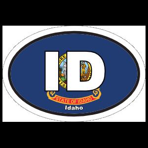 Idaho Id State Flag Oval Sticker