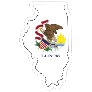 Illinois Flag State Sticker