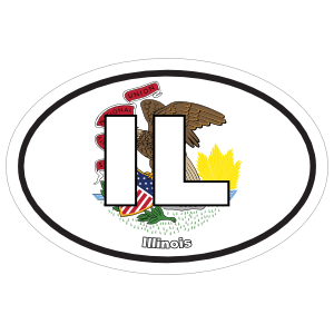 Illinois Il State Flag Oval Sticker