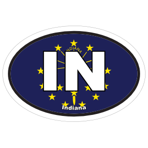 Indiana In State Flag Oval Sticker