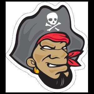 Intimidating Pirate Mascot Sticker