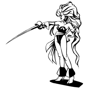 Japanese Woman Warrior With Long Hair And Sword Sticker