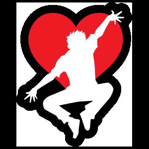Jumping Dancer with Heart Sticker
