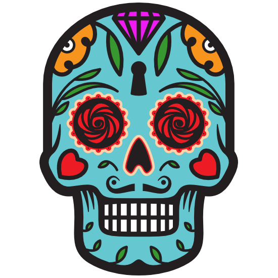 Keyhole Day of the Dead Skull Sticker