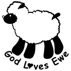 Lamb Sheep Sticker - God Loves Ewe