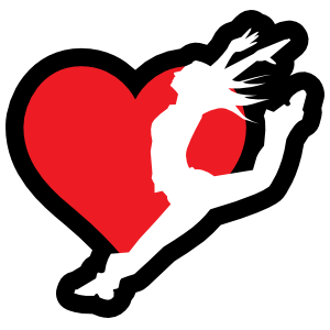 Leaping Dancer with Heart Sticker