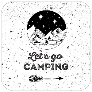 Lets Go Camping Stamp Splatter Sticker