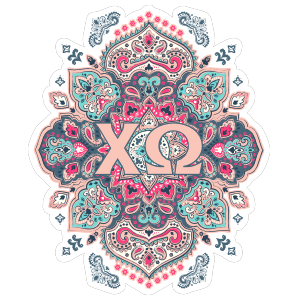 Light Pink and Blue Chi Omega Mandala Sticker