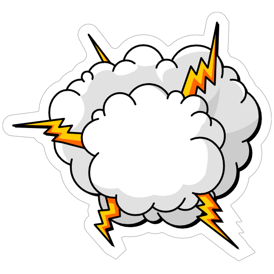 Lightning Cloud Comic Sticker