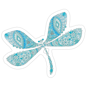 Blue Line Art Dragonfly Sticker