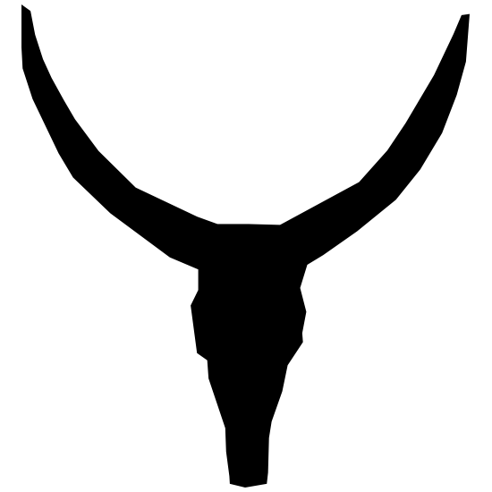 Long Bull Cow Horns Skull Sticker