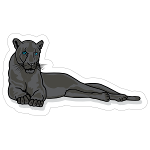 Lounging Panther Mascot Sticker
