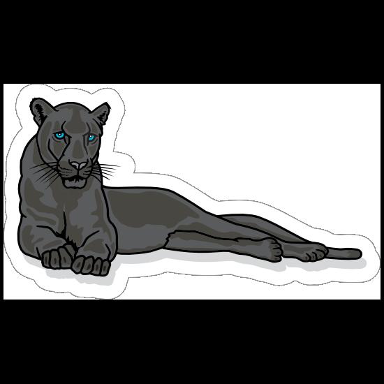 Lounging Panther Mascot Sticker
