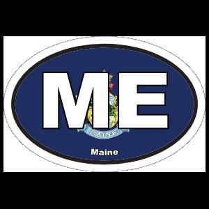 Maine Me State Flag Oval Sticker