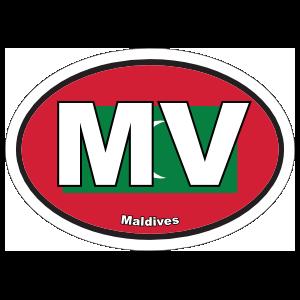 Maldives Flag Oval Sticker