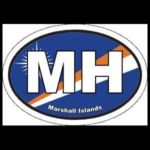 Marshall Islands Flag Oval Sticker