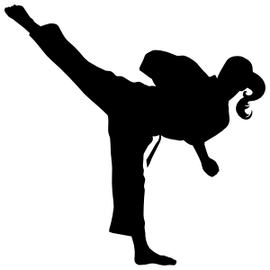 Martial Arts Karate Girl With Pony Tail Back Kick Sticker