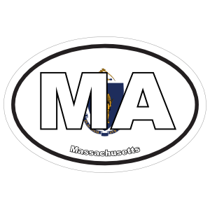 Massachusetts Ma State Flag Oval Sticker