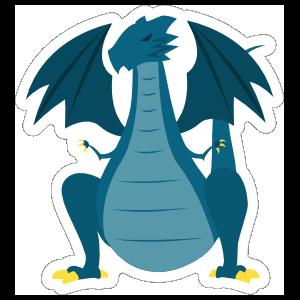 Menacing Blue Dragon Sticker