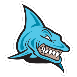 Menacing Blue Shark Mascot Sticker