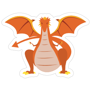 Menacing Orange Dragon Sticker