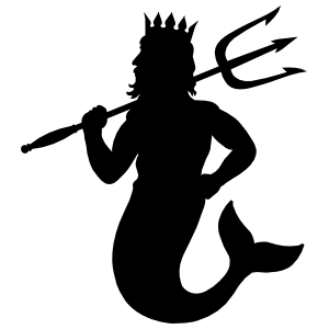 merman with trident sticker