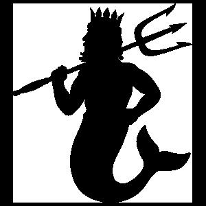 Merman With Trident Sticker