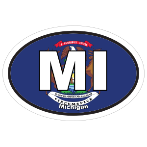 Michigan Mi State Flag Oval Sticker