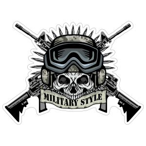 Military Pilot Skull with Crossed Guns Sticker
