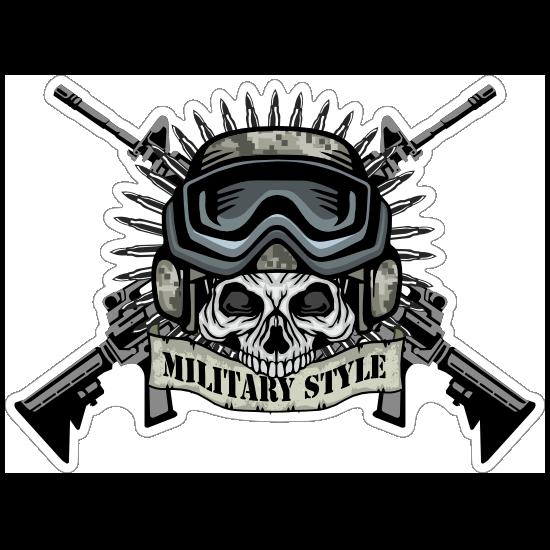 Military Pilot Skull with Crossed Guns Sticker